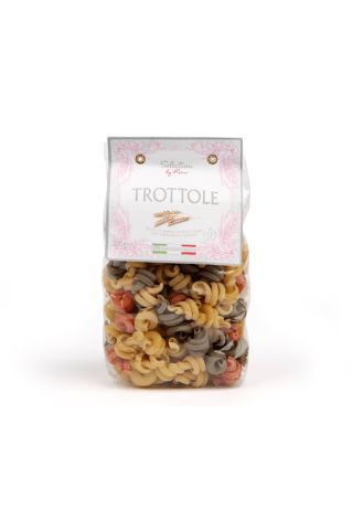Trottole Tricolor pasta ar tomātiem un baziliku selection by rimi 500g