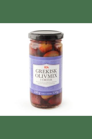 Grieķu olīvu maisījums ICA 240g/150g