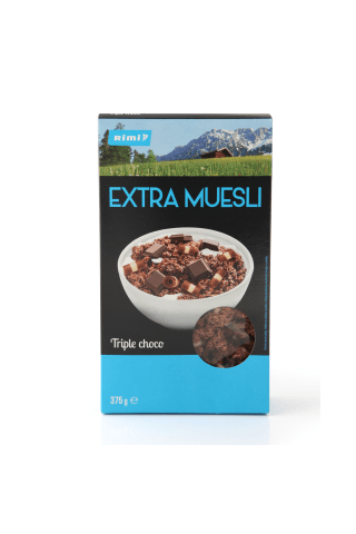 Traškūs dribsniai RIMI EXTRA TRIPLE CHOCO, 375 g