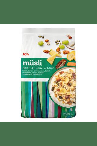 Dribsniai ICA 50% vaisių ir riešutų, 750 g