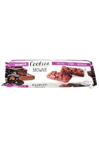 Sausainiai su 21 % juodojo šokolado ir 11 % pieninio šokolado gabaliukais RIMI BROWNIE, 200 g