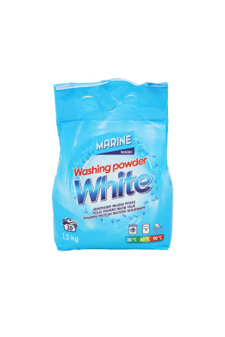 Skalbimo milteliai MARINE WHITE, 20 skalbimų, 1,5 kg
