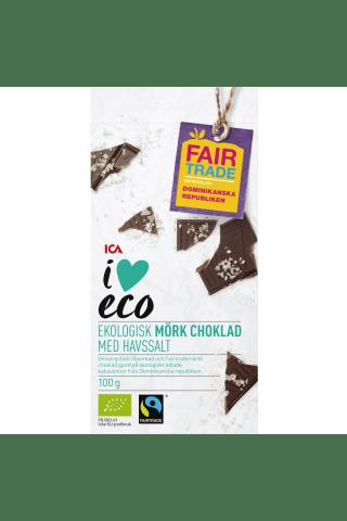 Ekoloģiskā tumšā šokolāde I love Eco ar jūras sāli, 100g