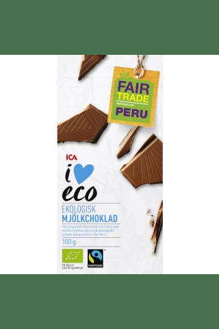 Ekoloģiskā piena šokolāde I love Eco, 100g