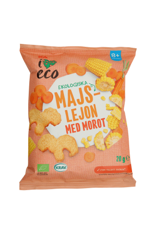 Ekoloģiska kukurūza ICA I Love Eco ar burkāniem 20g