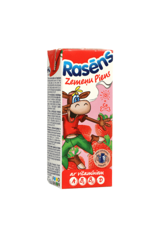 Pieno gėrimas braškių skonio su vitaminais, RASA, 0,2 l