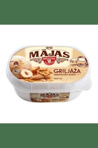 Riekstu garšas krējuma saldējums ar lazdu riekstu pildījumu un karamelizētiem riekstiem