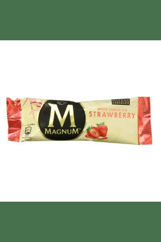 Braškiniai valgomieji ledai su braškių įdaru ir baltuoju šokoladu MAGNUM, 110 ml