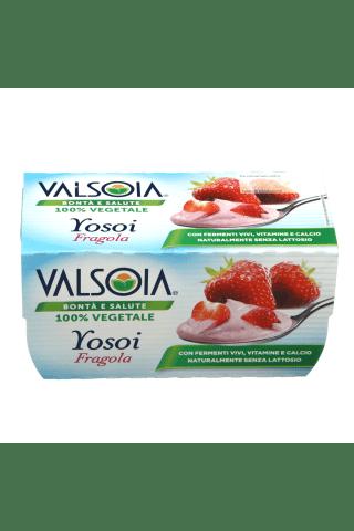 Sojos pagrindu pagamintas ne pieno produktas su braškėmis, gyvomis bakterinėmis kultūromis, kalciu ir vitaminais YOSOI VALSOIA, 250 ml