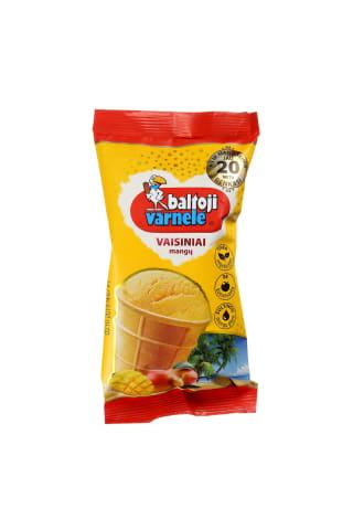 Mangų vaisiniai ledai vafliniame puodelyje BALTOJI VARNELĖ, 120 ml