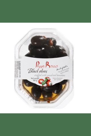 Juodosios alyvuogės, įdarytos saulėje džiovintais pomidorai 130g