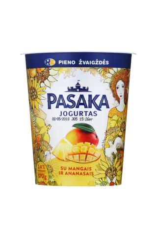 Švelnus jogurtas su mangais ir ananasais PASAKA, 2,5% riebumas, 370g