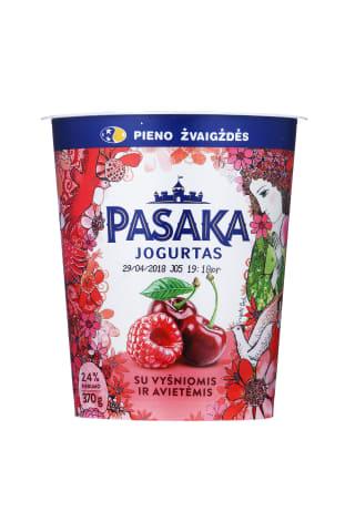 Švelnus jogurtas su vyšniomis ir avietėmis PASAKA, 2,5% riebuma, 370g