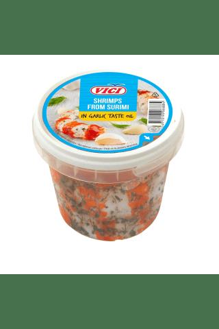 Didžiosios surimi krevetės česnakų skonio aliejuje VICI, 320 g